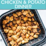 cubed chicken and potatoes in an air fryer