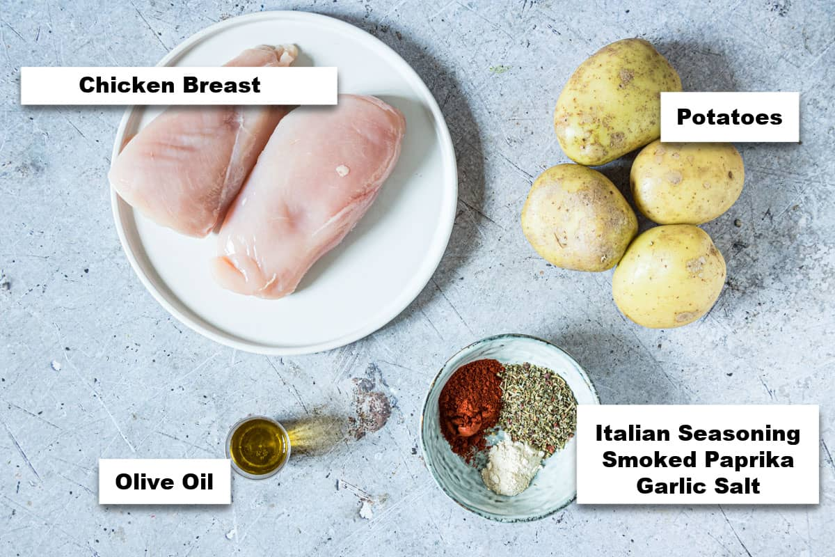 the ingredients needed for making air fryer chicken and potatoes