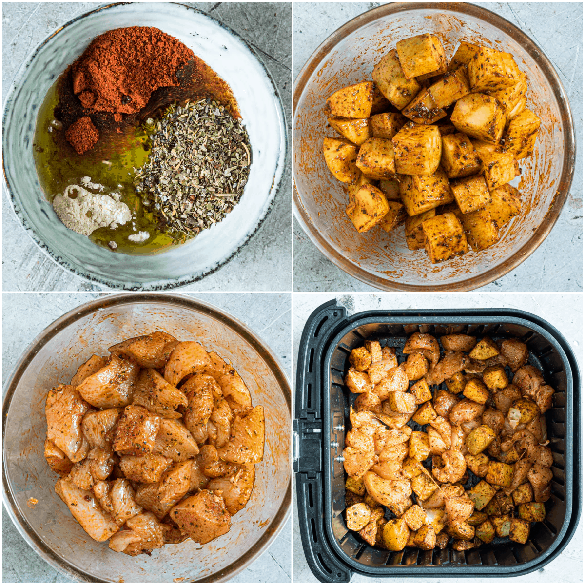 image collage showing the steps for making air fryer chicken and potatoes