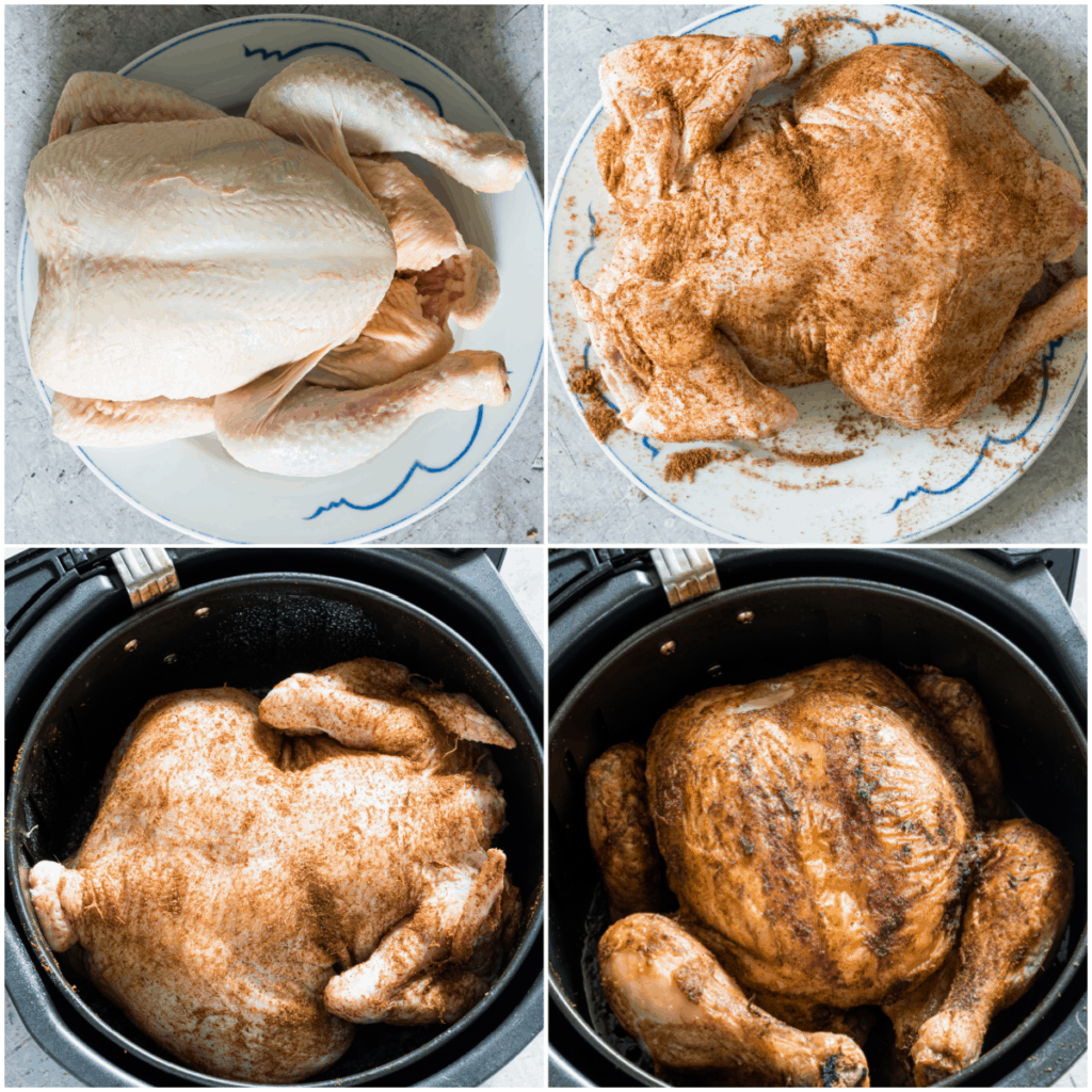 image collage showing the steps for making air fryer chicken