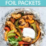 CHICKEN AND PEPPERS IN A FOIL PACKET WITH A DOLLOP OF SOUR CREAM