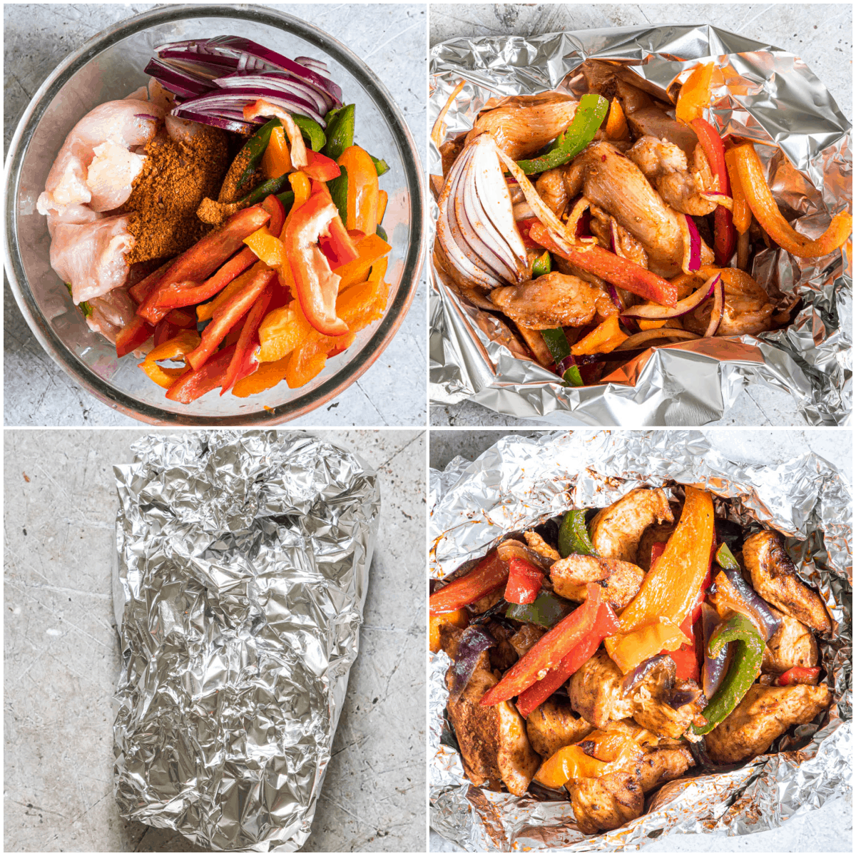 image collage showing the steps for making chicken fajita foil packets