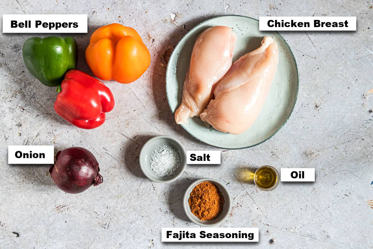 the ingredients needed for making chicken fajita foil packets
