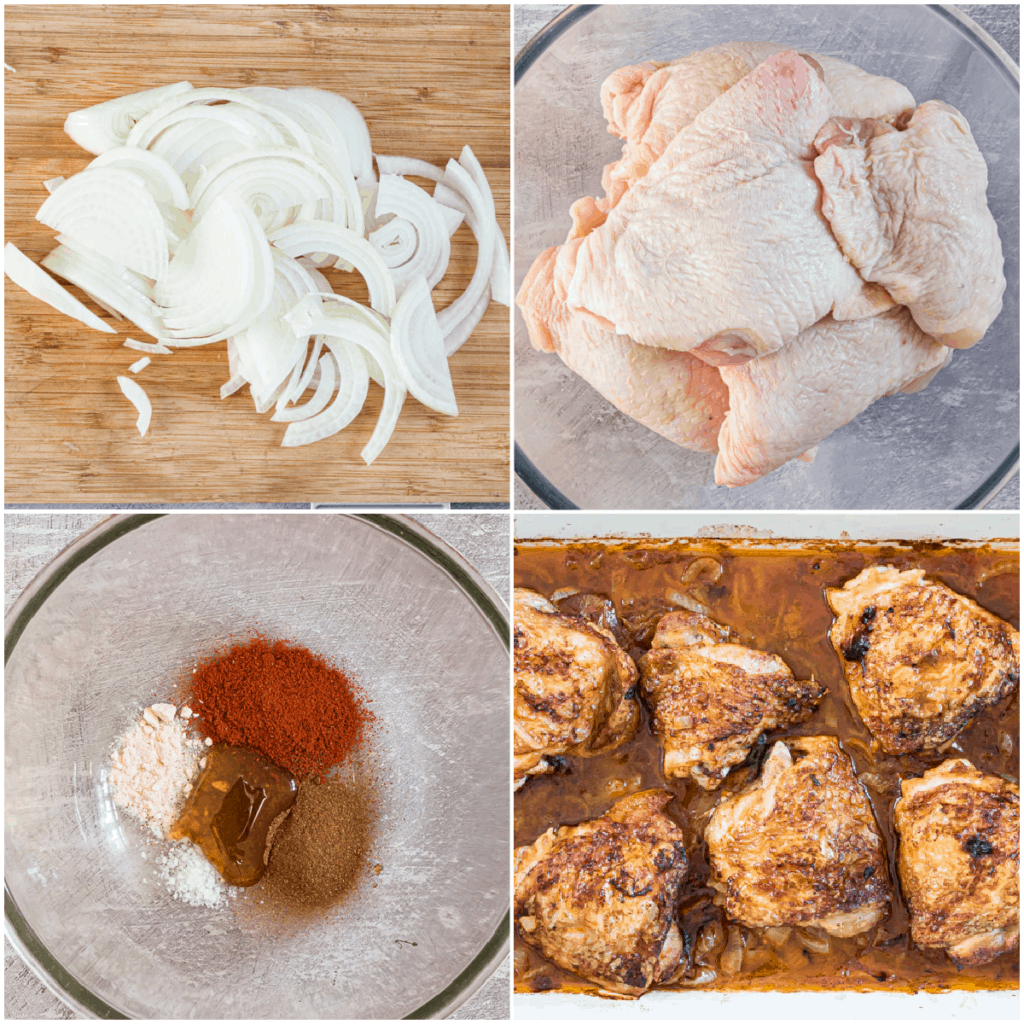 image collage showing the steps for making this cinnamon chicken recipe