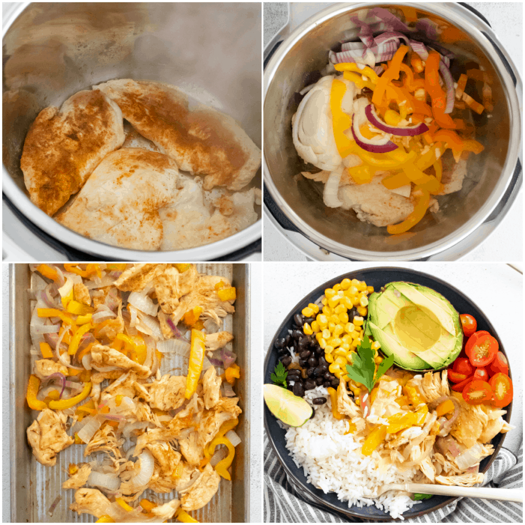 image collage showing the steps for making instant pot chicken burrito bowl