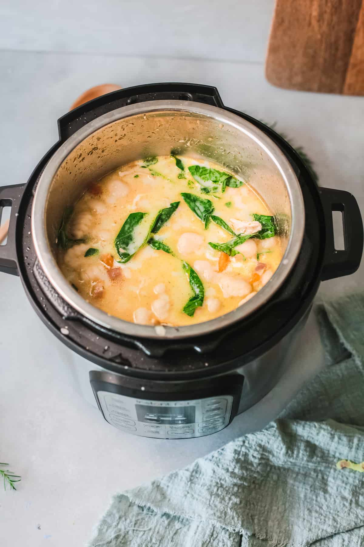 the completed instant pot chicken gnocchi soup in the instant pot