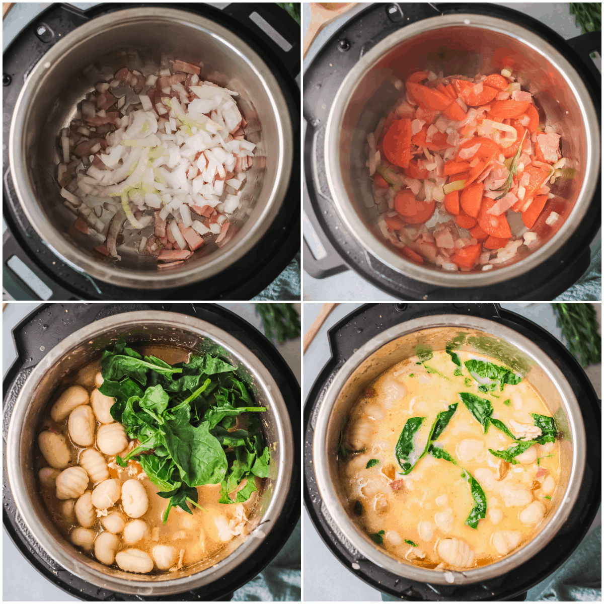 image collage showing the steps for making chicken gnocchi soup instant pot
