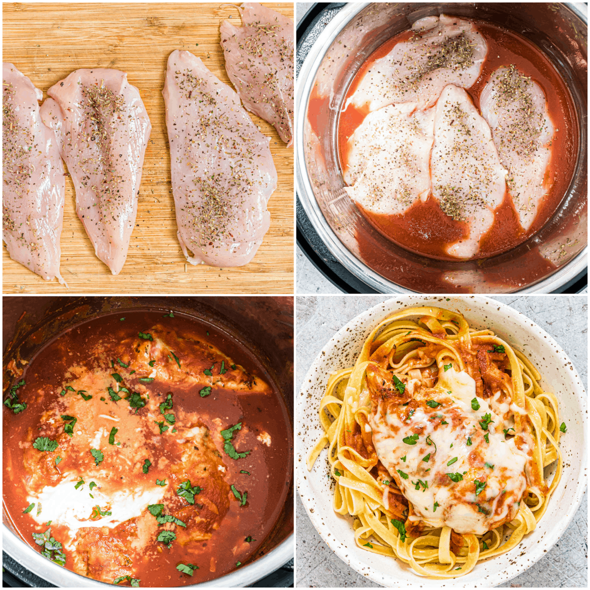 image collage showing the steps for making instant pot parmesan chicken