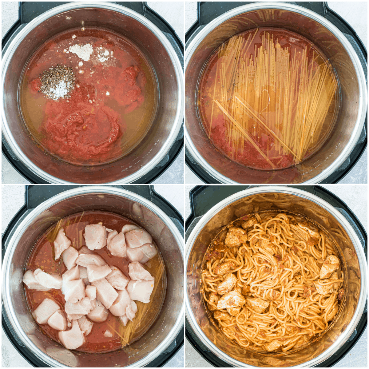image collage showing the steps for making chicken spaghetti in Instant Pot