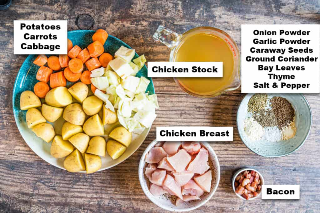 the ingredients needed for making instant pot chicken stew