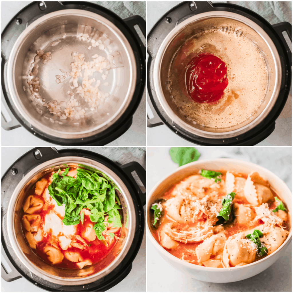collage of pressure cooker tortellini soup being made