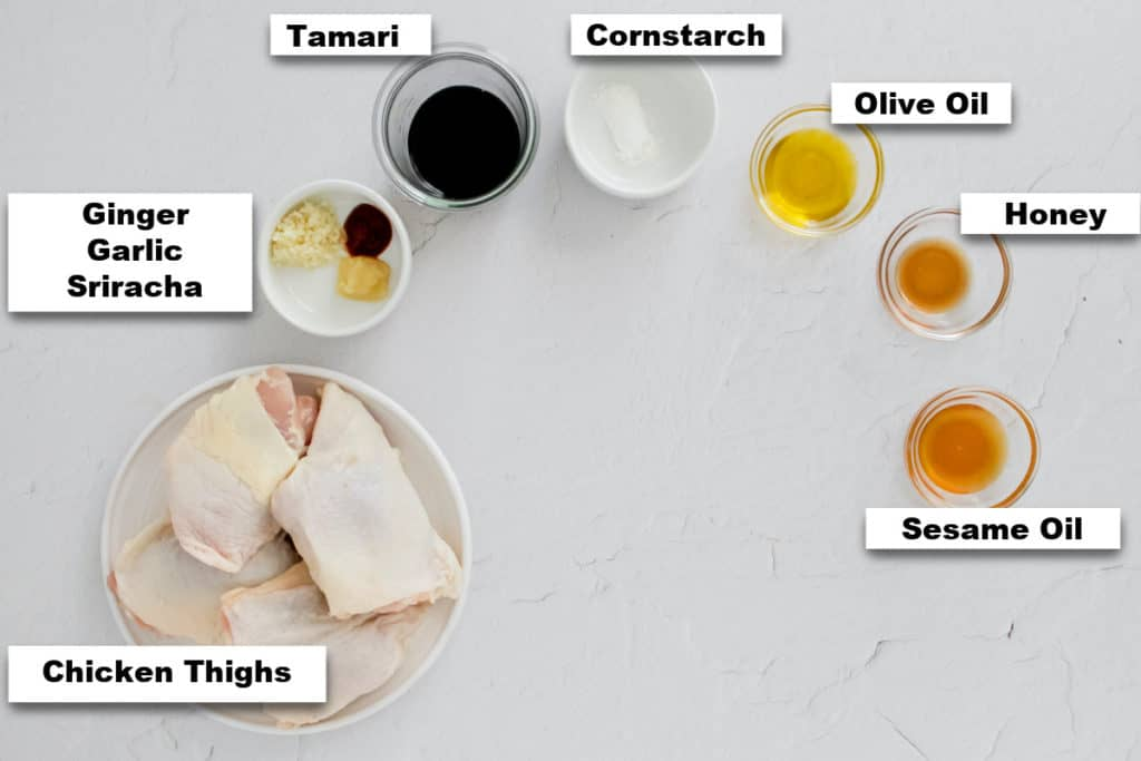 the ingredients needed for making honey garlic chicken instant pot