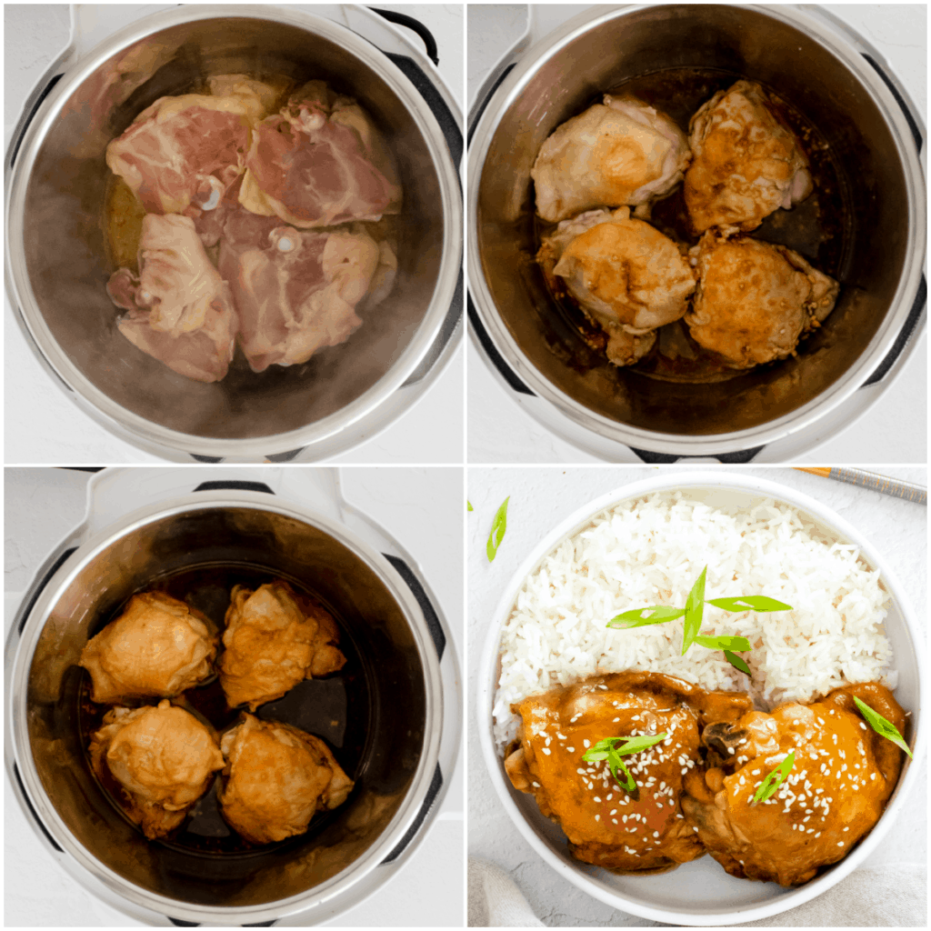 image collage showing the steps for making instant pot honey garlic chicken