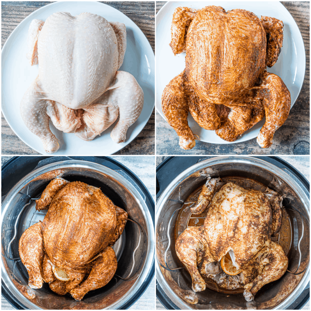 image collage showing the steps for making whole chicken instant pot