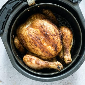 top down view of the cooked white chicken in air fryer