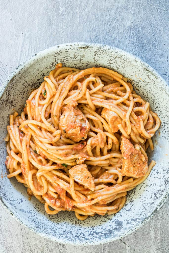 close up of a bowl of comforting chicken spaghetti