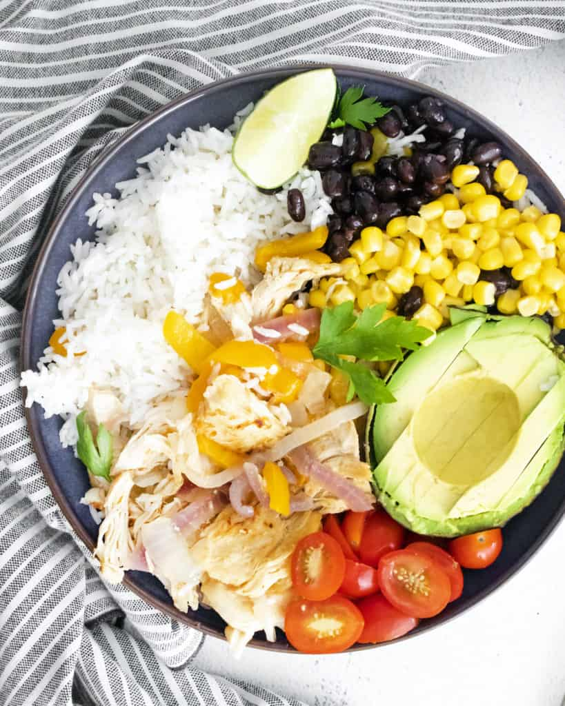 close up view of the finished instant pot chicken burrito bowl