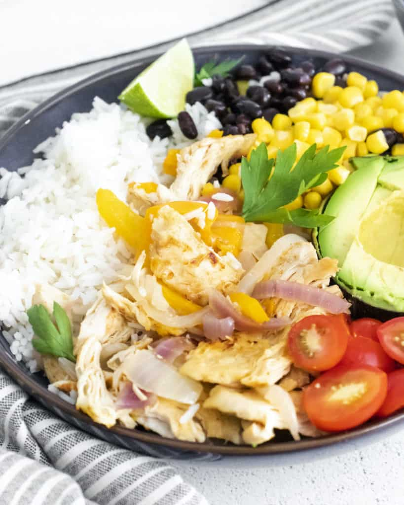 close up view of one chicken burrito bowl ready to be served