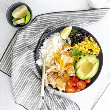 top down view of the completed instant pot chicken burrito bowl recipe