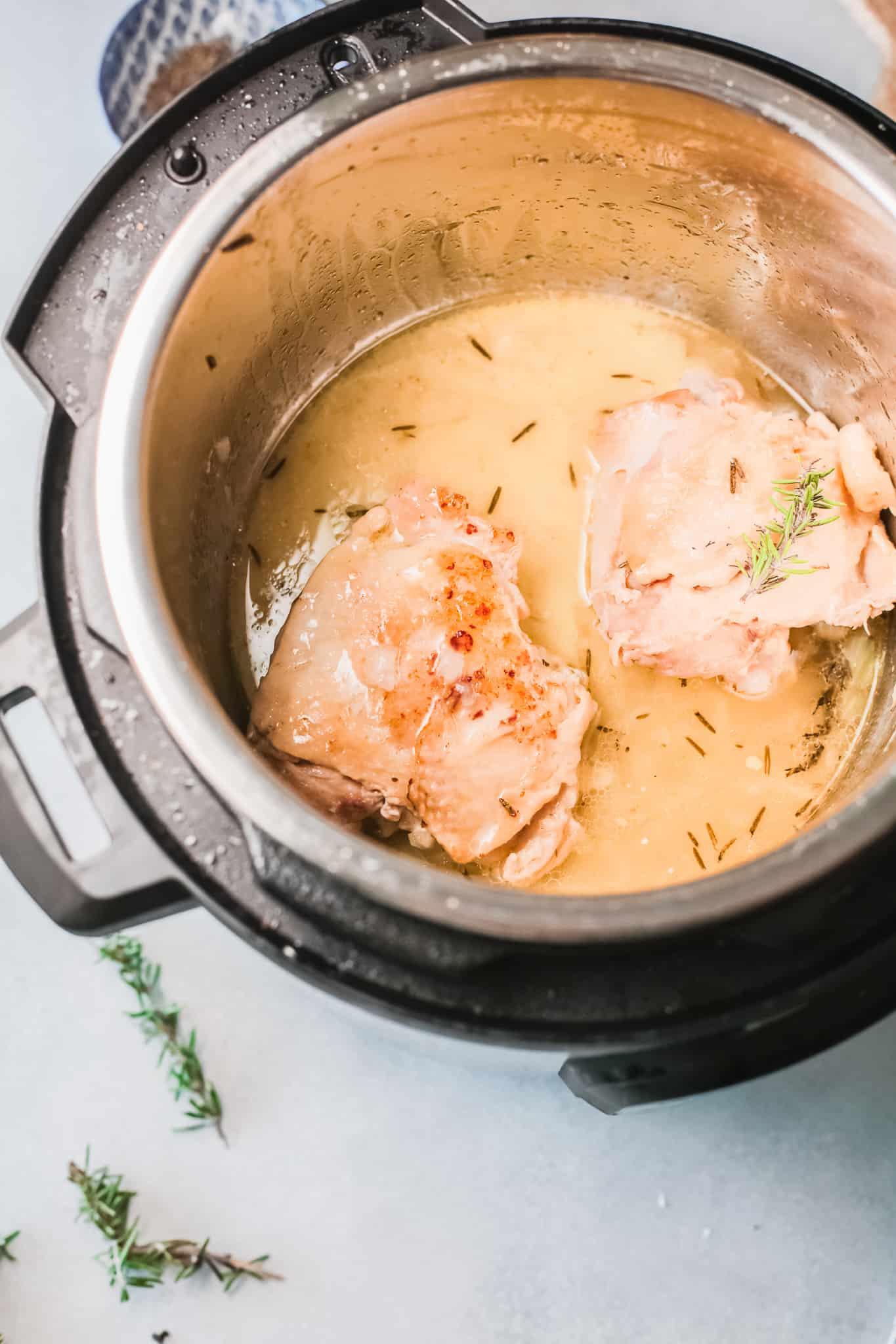 chicken thighs inside the instant pot insert
