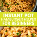 two pictures of hamburger helper in an instant pot and in a bowl