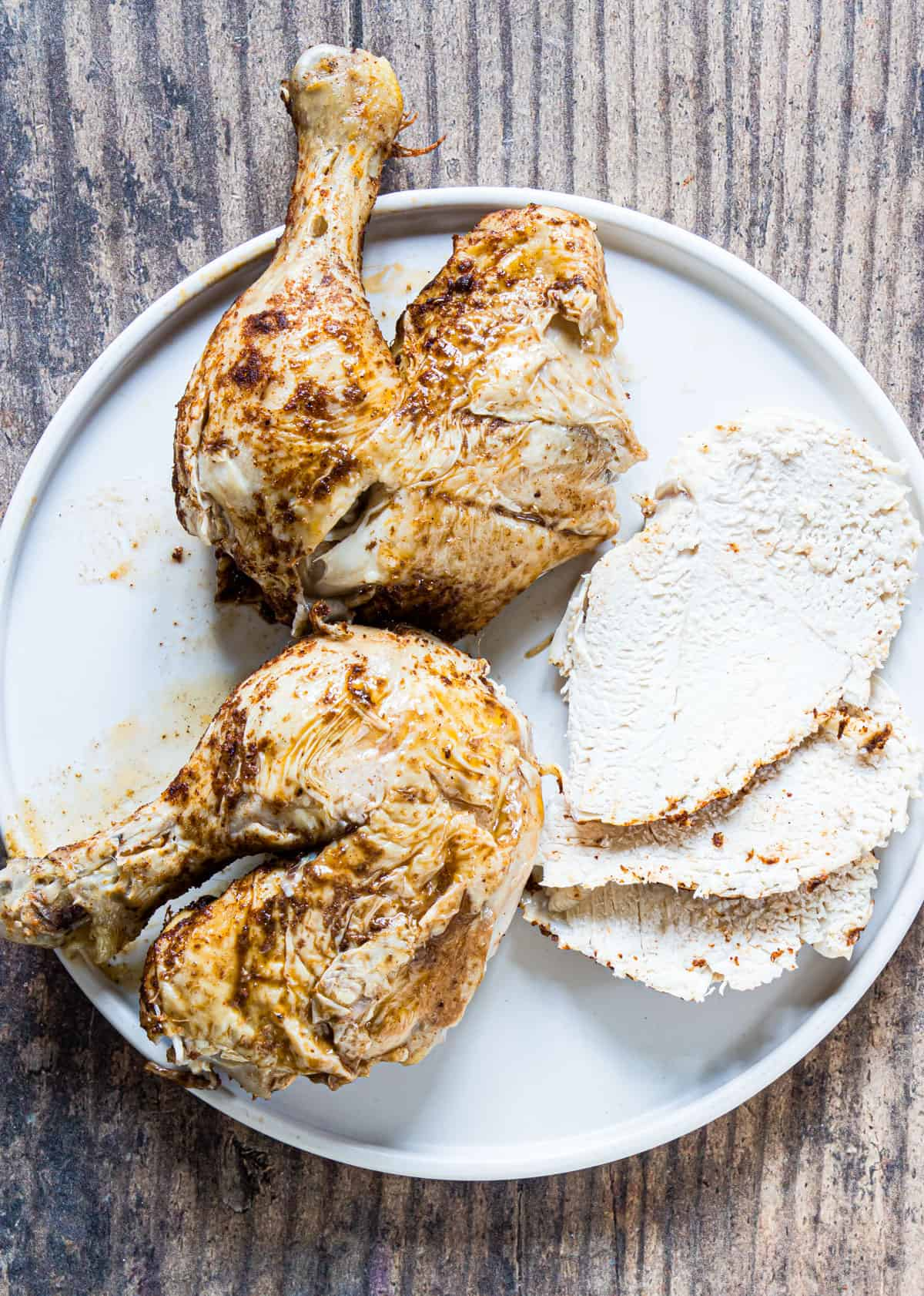 whole chicken sliced into portions and ready to serve
