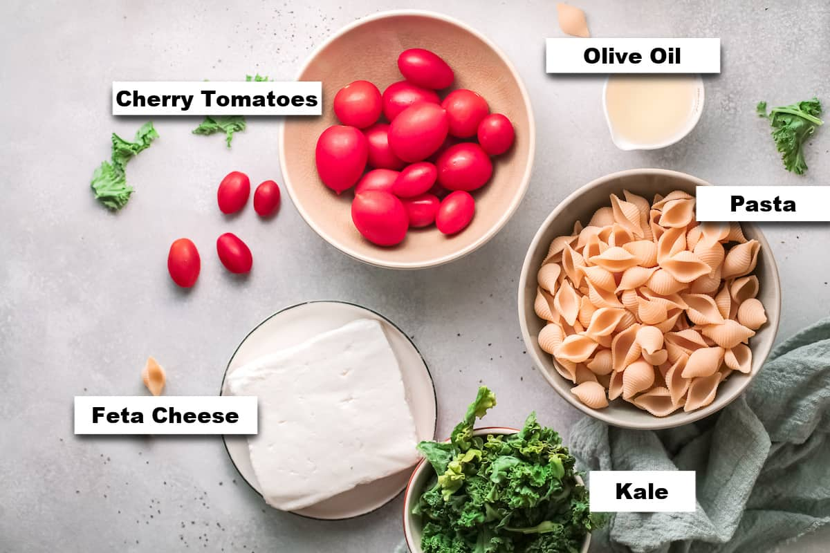 the ingredients needed for making baked feta pasta