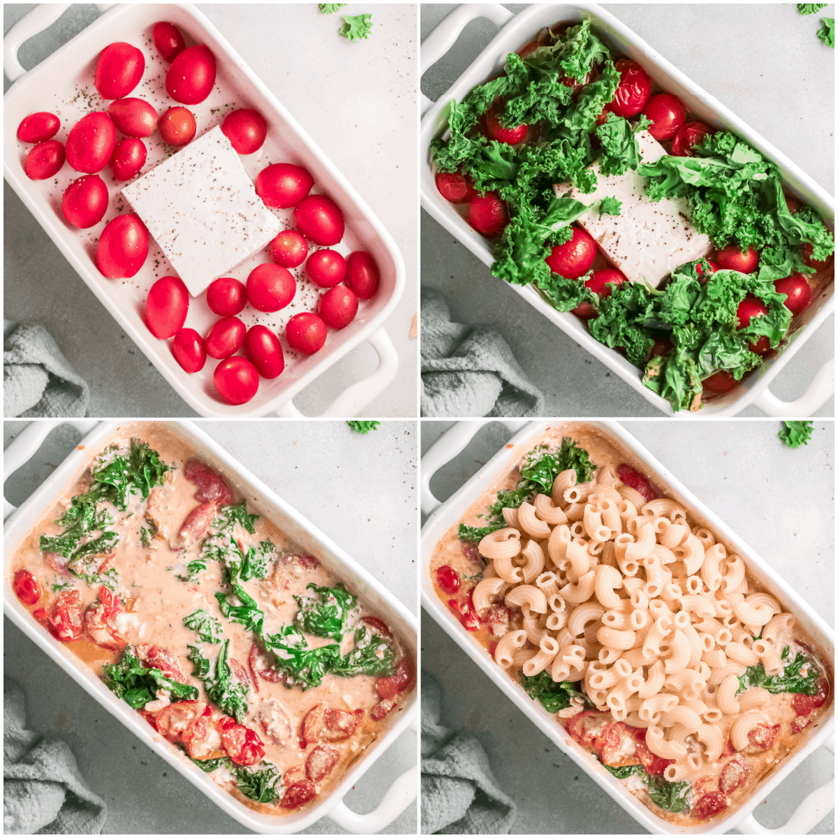 image collage showing the steps for making baked feta pasta