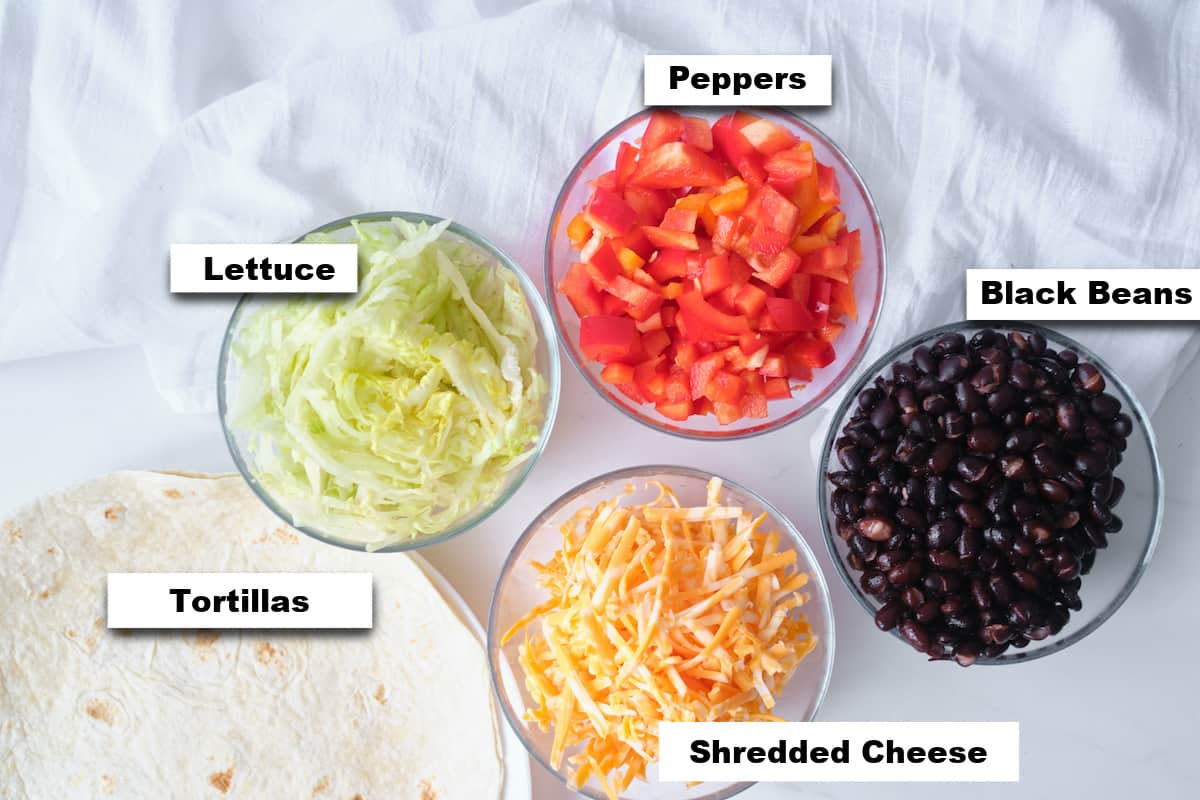 the ingredients needed for making this black bean quesadilla recipe