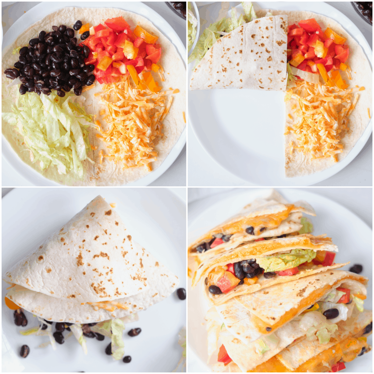 image collage showing the steps for making black bean quesadilla