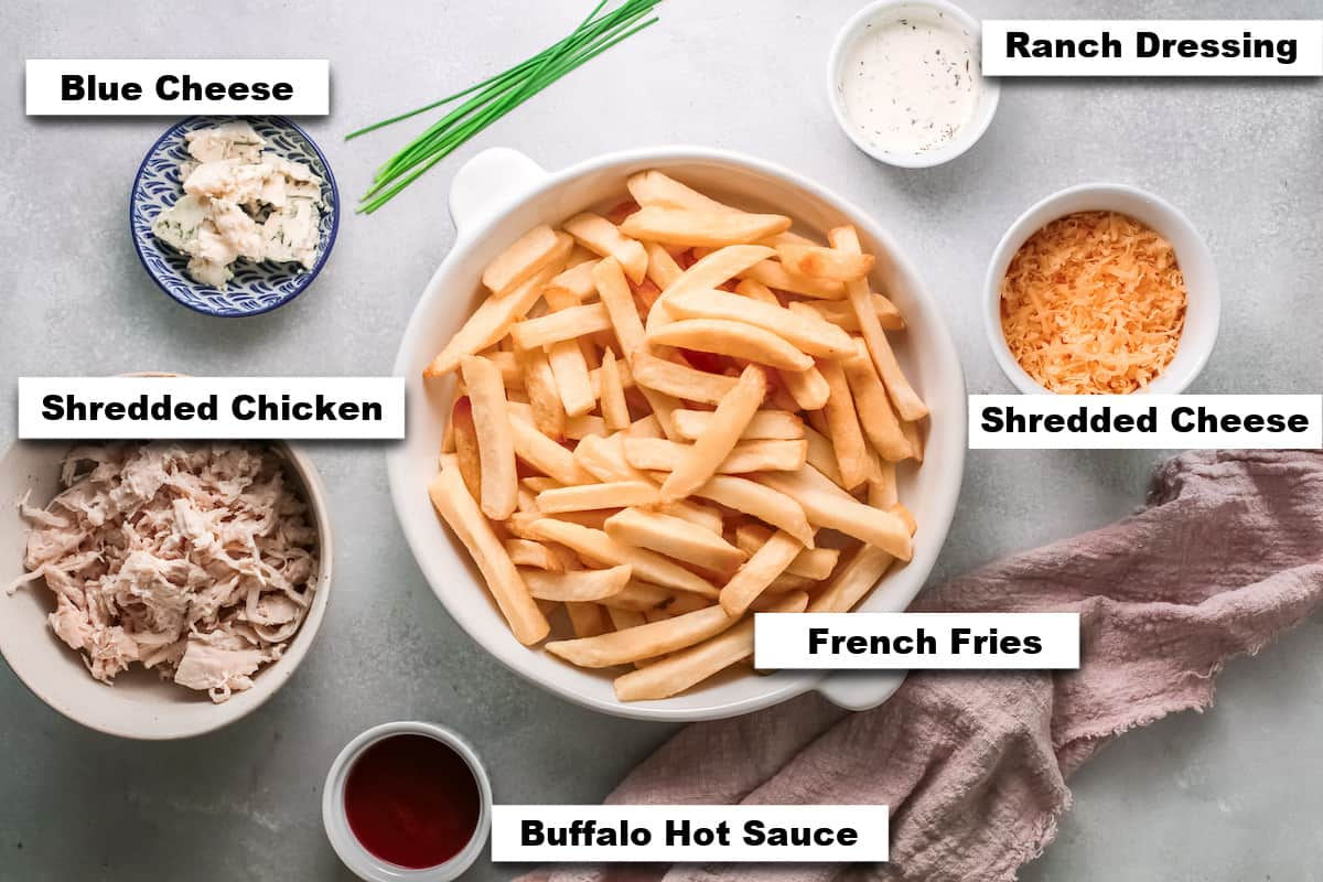 the ingredients needed for making buffalo chicken fries
