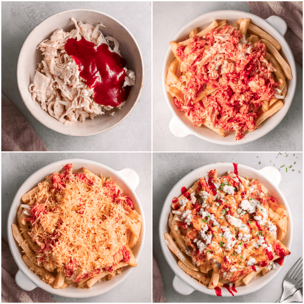 image collage showing the steps for making buffalo chicken fries