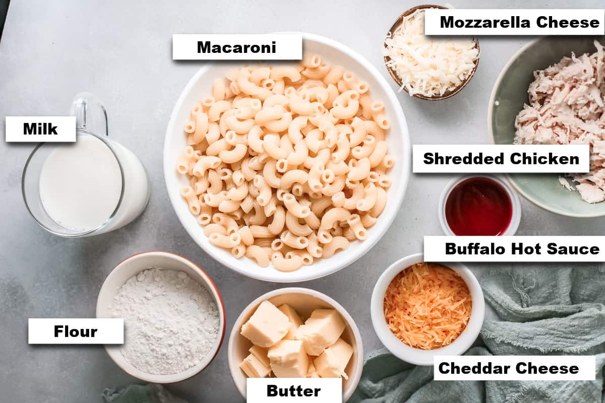 the ingredients needed for making this buffalo chicken mac and cheese recipe