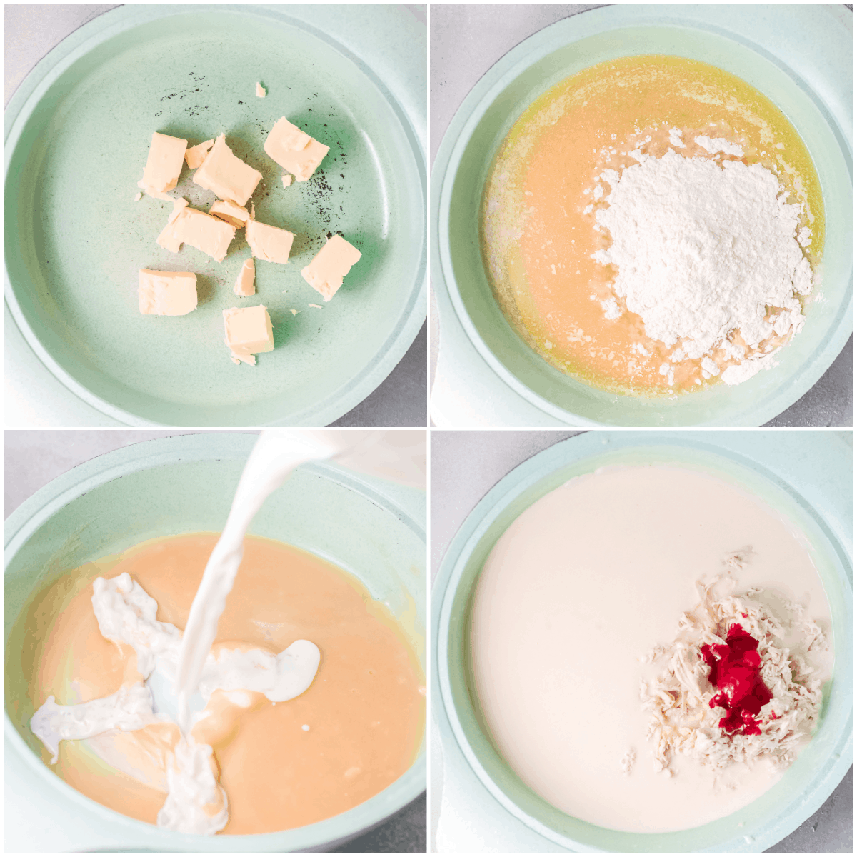 image collage showing the first few steps for making buffalo chicken mac and cheese