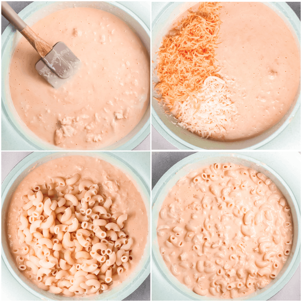 image collage showing the final steps for making buffalo chicken mac and cheese