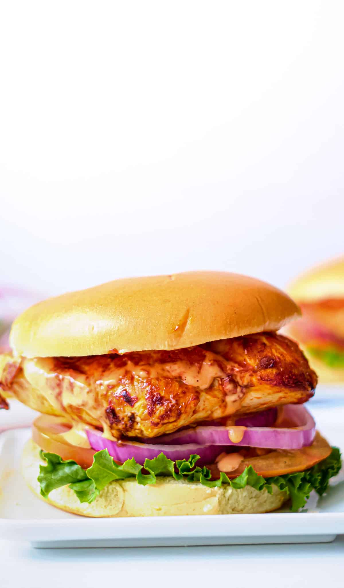 one buffalo chicken sandwich on a white plate and ready to serve