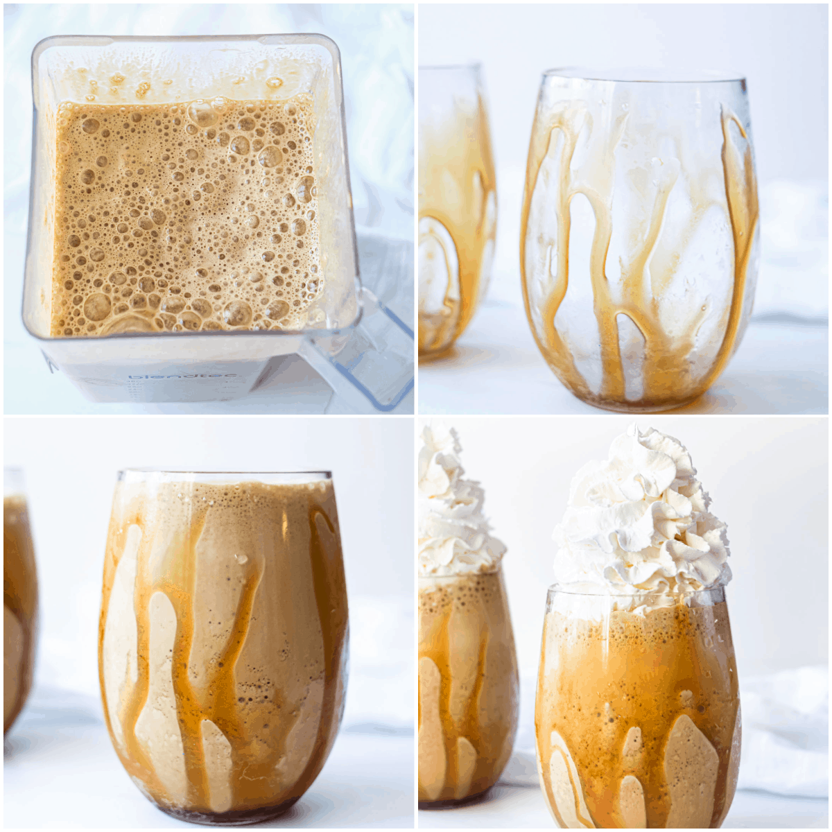 image collage showing the steps for making caramel frappe