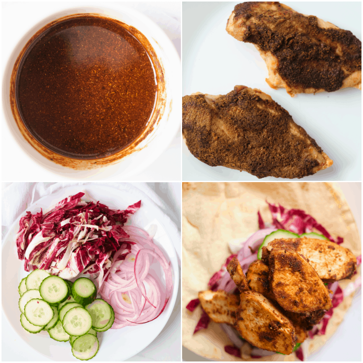 image collage showing the steps for making chicken shawarma wrap