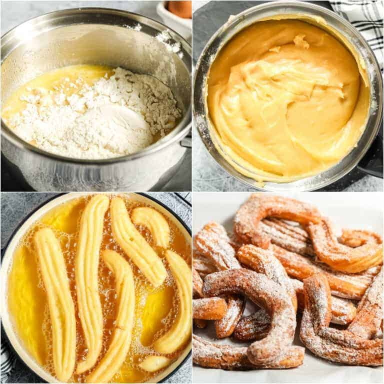 collage showing how to make churros