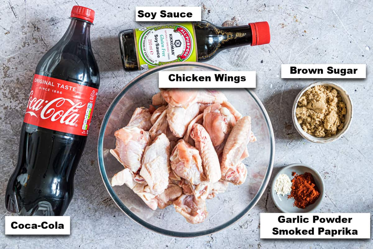 the ingredients needed for making Coca Cola Instant Pot Chicken Wings