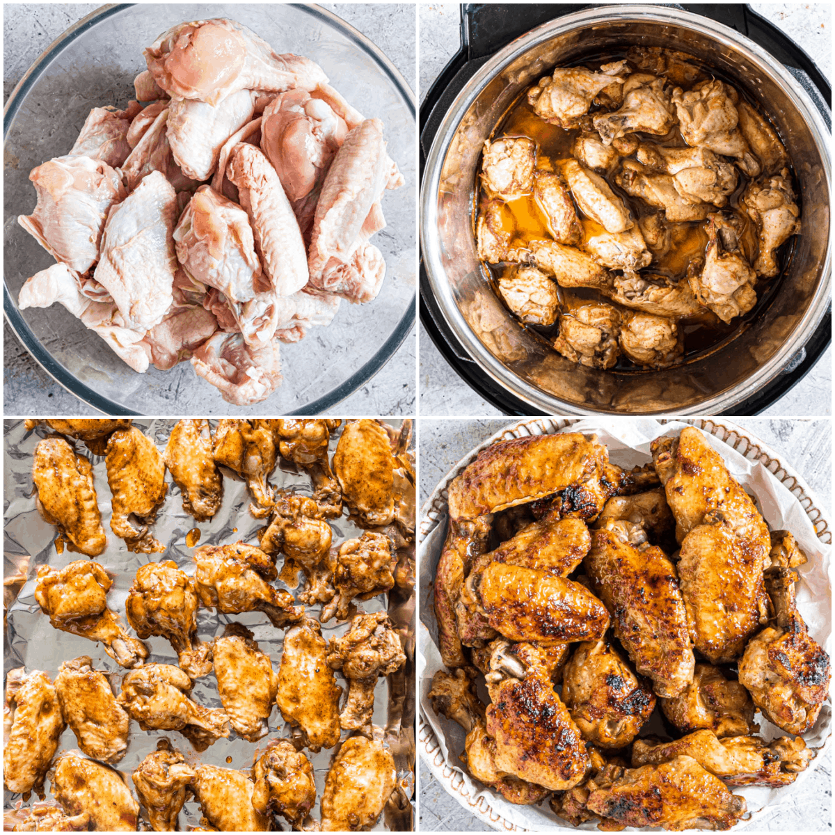 image collage showing the steps for making coca cola chicken wings instant pot