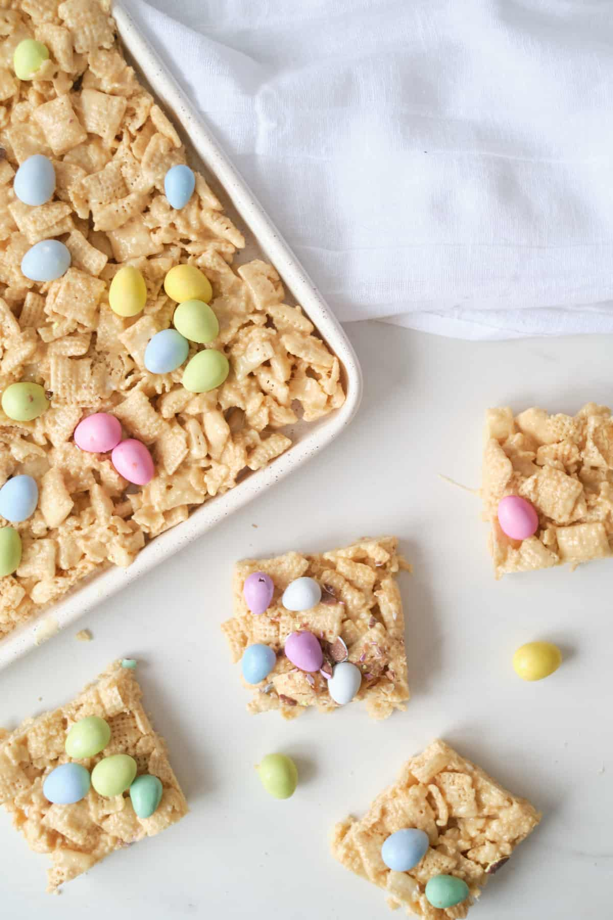 top down view of the completed no bake chex bars with mini eggs