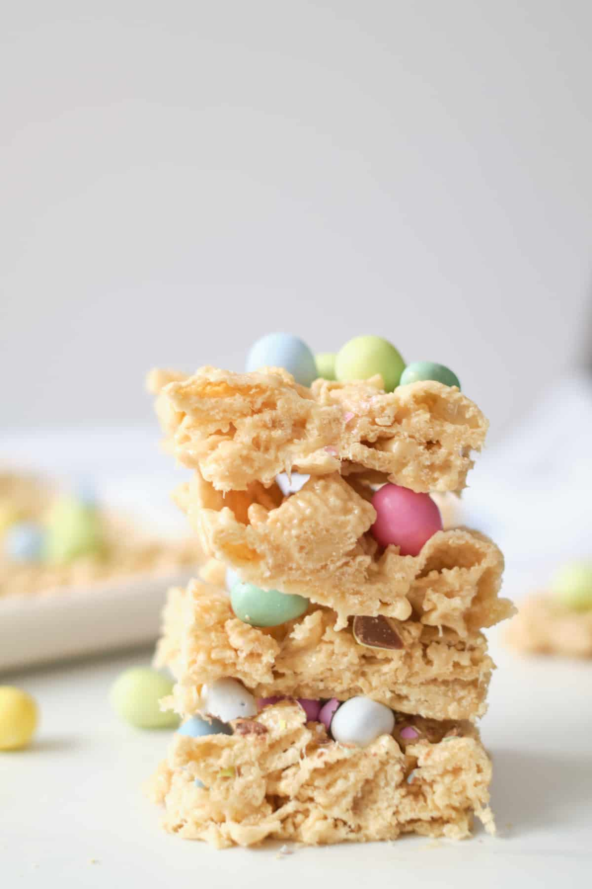 three finished check cereal bars stacked vertically