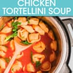 tortellini soup in an instant pot with a spoon