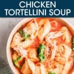 tortellini soup in a bowl