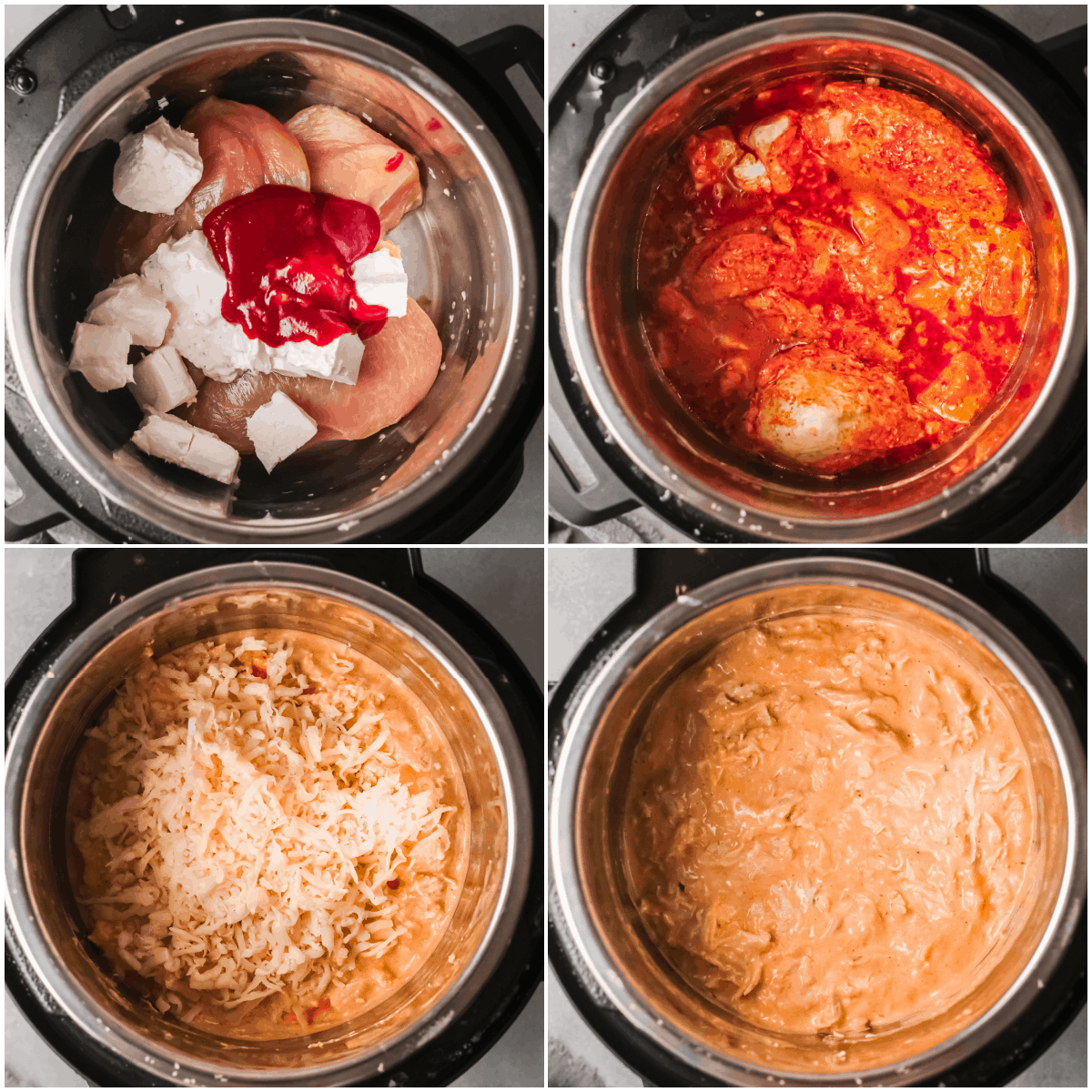 image collage showing the steps for making instant pot buffalo chicken dip