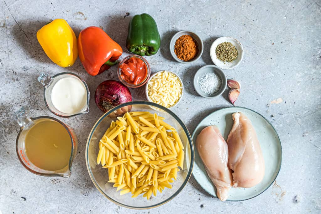 image of Ingredients For Chicken Fajita Pasta on a table