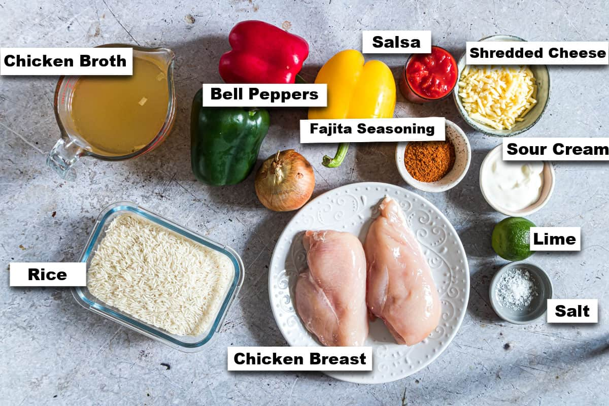 the ingredients needed for making instant pot fajita rice