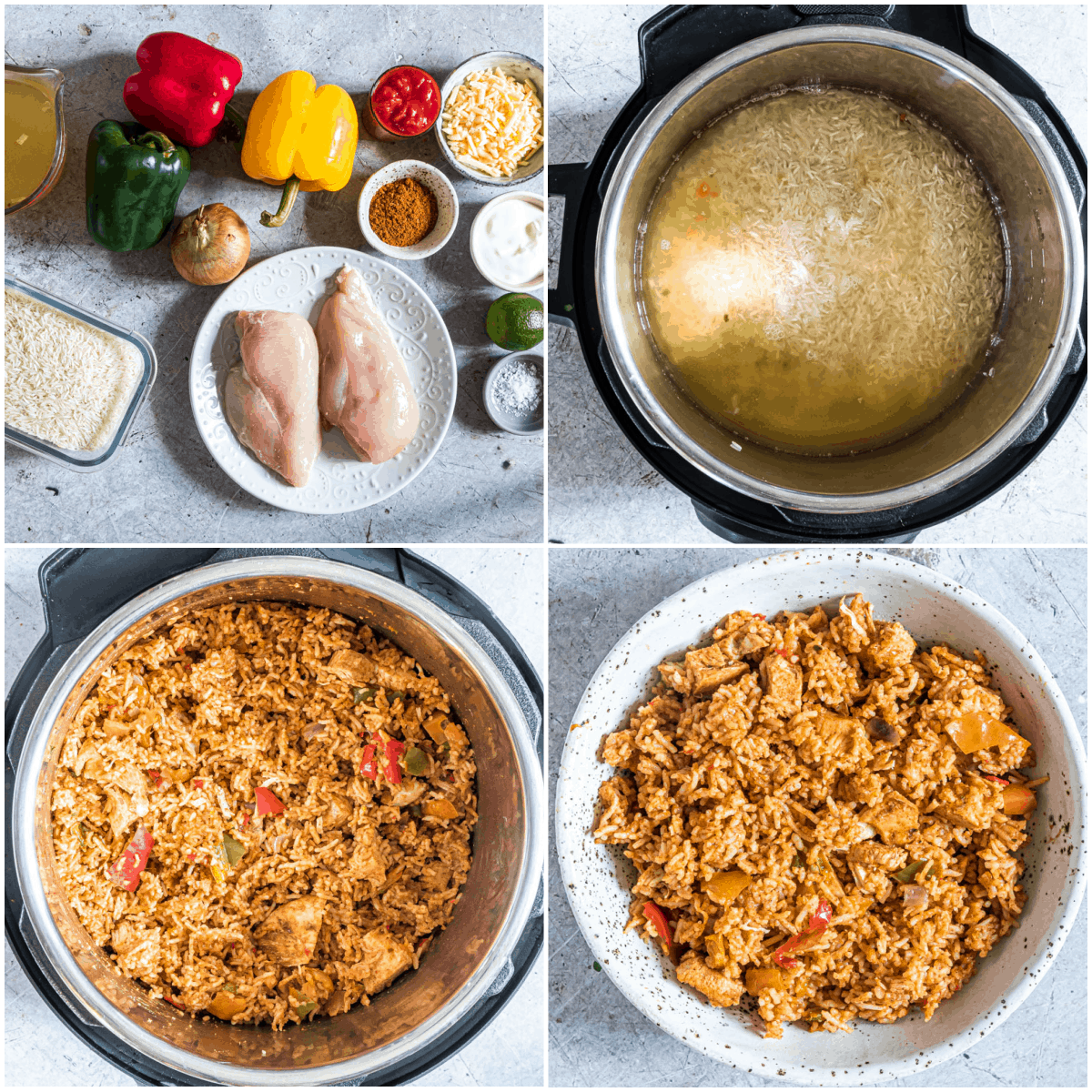 image collage showing the steps for making fajita rice instant pot