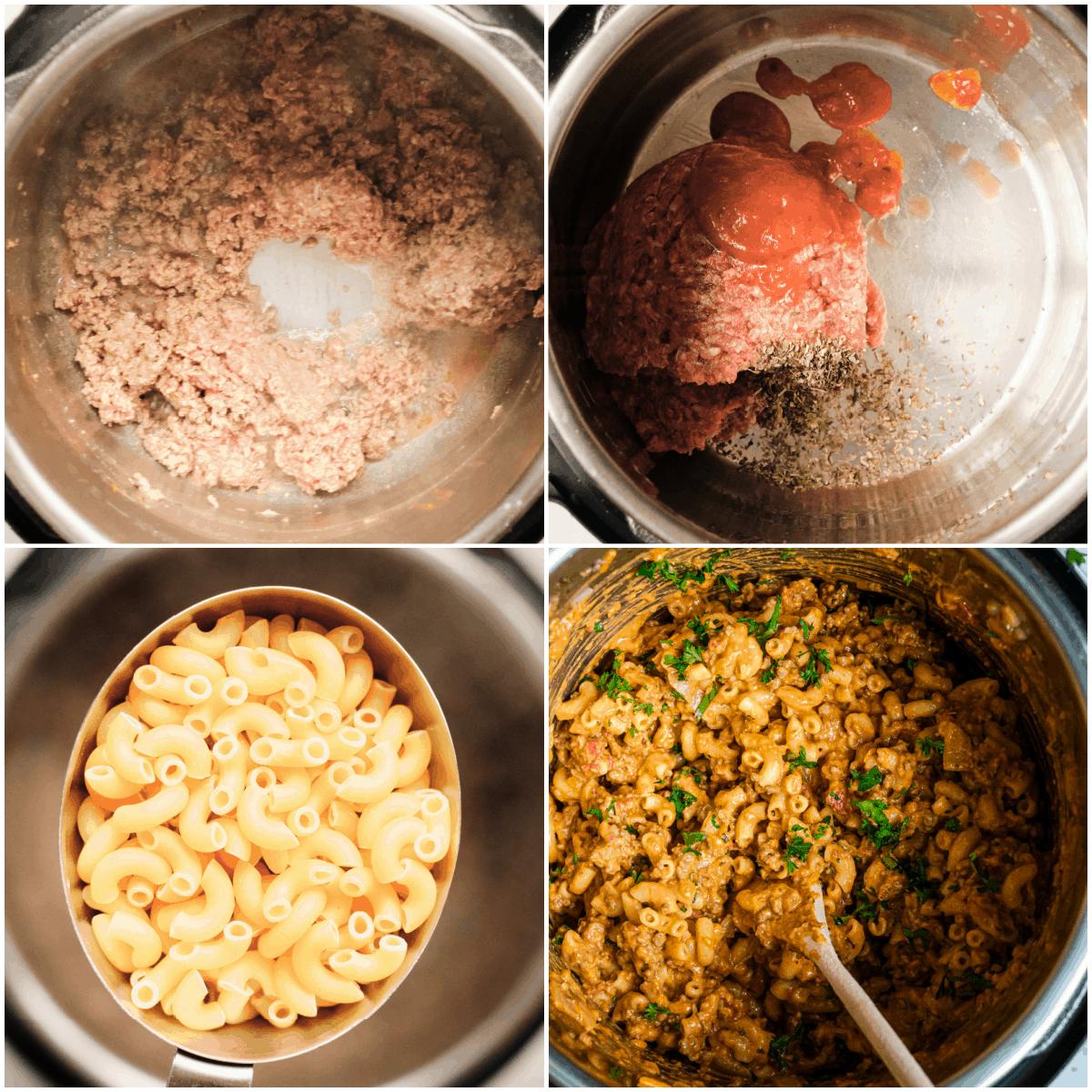 image collage showing the steps for making instant pot hamburger helper
